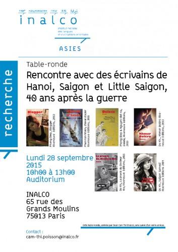 Affiche - Rencontre avec des écrivains de Hanoi, Saigon et Little Saigon, 40 ans après la guerre - 28 sept 15 ASIEs