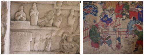 A gauche : Mulian sauve sa mère de sa condition de démon affamé sur un bas relief datant du Xe siècle exécuté à Xiangtansi dans la province du Sichuan. A droite : une scène analogue sur une peinture de la collection Li
