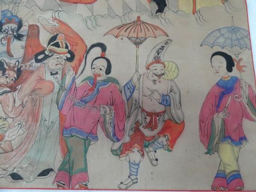 """Jijiao shen <span style=""""font-style: normal;""""> 鷄脚神</span> et Wu Erye emmènent un défunt, aidés de leurs épouses"""