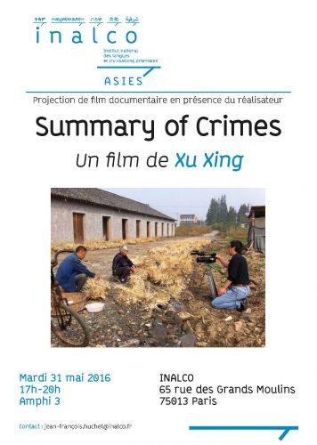 Affiche - Summary of Crimes - 31 mai